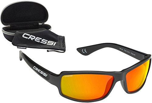 Cressi Ninja Gafas de Sol, Unisex Adulto, Negro/Lentes Espejados Naranja, Talla Única