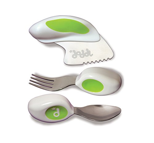 Doddl Cutlery Set Lime Green - Knife, Fork and Spoon Set. For Babies or Children 12+ Months Old. Help Teach Your Baby or Toddler To Self-Feed With Ease Using Cutlery in The Right Way