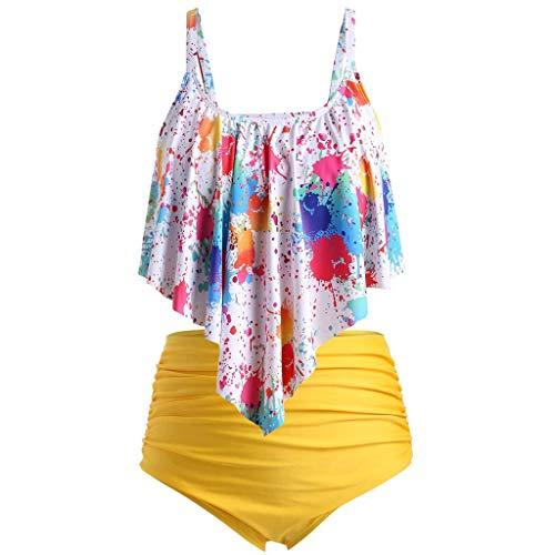 LSAltd Frauen Sommer Sexy Bunte Tie-Dye Push-Up Gepolsterte Plus Size Bikini Set Hohe Taille Badeanzug Beachwear -