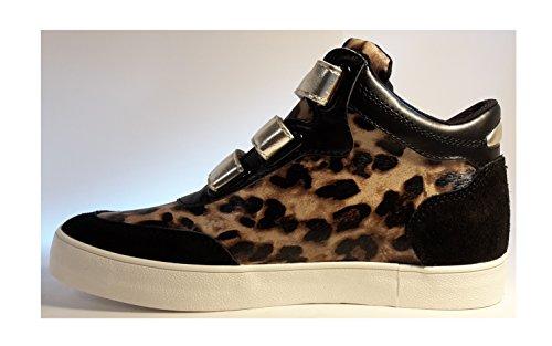 Sneakers, bottes femmes chiques, chaussures colorées femme, très élégant, modèle 11094106001101, noir-léopard ou rosé-léopard, différents modèles et tailles. Noir-léopard.