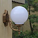 Lámpara de pared Estilo europeo Luz de pared impermeable al aire libre Bola de Viena E27 Aleación de aluminio Linterna colgante (Color: Bronce)