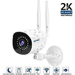Caméra IP sans Fil 1536P,HD Caméra Surveillance WiFi Extérieur sans Fil ,Caméra IP Extérieur,4MP IP66 étanche,Vision Nocturne, Mobile Push Alarm,Enregistrement Vidéo,Audio bidirectionnel,128G SD Max