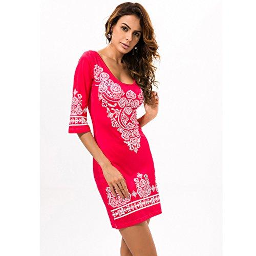GWELL Damen Bohemia Floral U-Ausschnitt Sommer Kleider Elastisch Stretch Rot