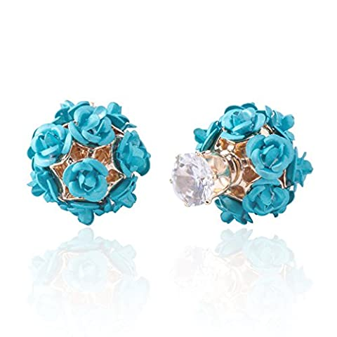 Jane Stone Ladies Earrings Zirconia Cubic Ball Shaped Blue Flower Rose Cluster Front and Back Studs for Women and Girls 1