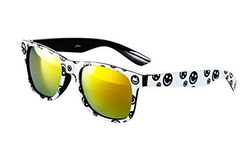 EL-Sunprotect® Sonnenbrille Nerdbrille Brille Nerd Feuer Verspiegelt Weiß Schwarz Feuer UV400
