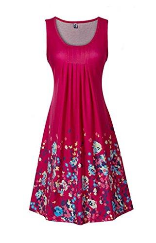 ASSKDAN Damen Sommer Kleid Drucken Knielang ärmellos Runder Kragen A-Linie Strandkleid Lose Sommerkleid - Hochwertig (M EU 38, Rose Rote)