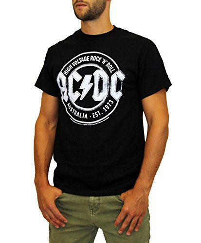 Herren Vintage Schwarz T-shirt (AC/DC Herren T-Shirt Vintage Schwarz, L)