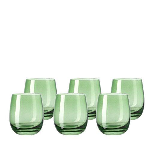 Leonardo Sora Becher klein Verde, 6-er Set, 360 ml, hellgrünes Kristall-Glas mit Colori-Hydroglasur, 018196