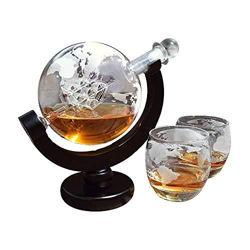 mikamax Globe Dekanter Set Whiskey Karaffe - mit Zwei Gläsern - Handgefertigt - Transparent - 850...