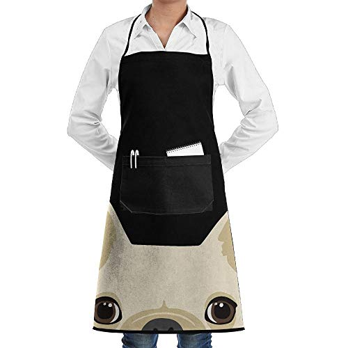 Pillowcase Wholesale Funny French Bulldog Novelty 3D Print Water Resistant Polyester Kitchen Apron with Big Pockets Machine Washable Easy Care Twill Sewing Bib Apron for Cooking BBQ Party