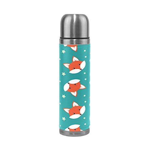Alaza Fox Wasser Flasche Doppelwandige Edelstahl Vakuum Isoliert Thermoskanne echtem Leathe, 17oz 100% auslaufsicher -