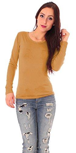 Damen Jersey Langarm Basic T-Shirt mit Rundhals lang Ausschnitt rund Top dünnes Shirt einfarbig uni 1/1 Arm langärmlig Gr 38 / M - hell braun Curry