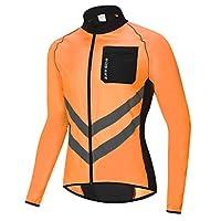 SaniMomo Cycling Jacket Running Windproof Waterproof Sports Coat Reflection Jersey - Orange, L