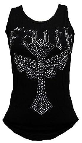 Rockabilly Punk Rock Baby Femme Noir Débardeur pour femme Croix gothique emo Diamante Strass Motif Tattoo - Noir - 64