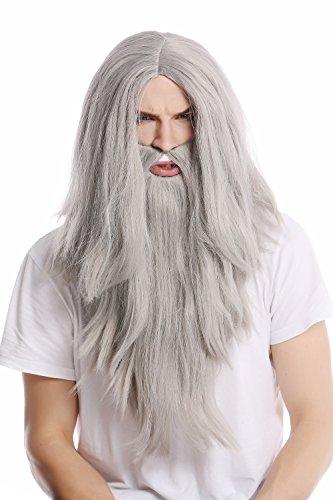 WIG-ME-UP–PW0210-ZA68E-Peluca-lisa-larga-barba-Carnaval-color-gris-mago-profeta-motero-mayor