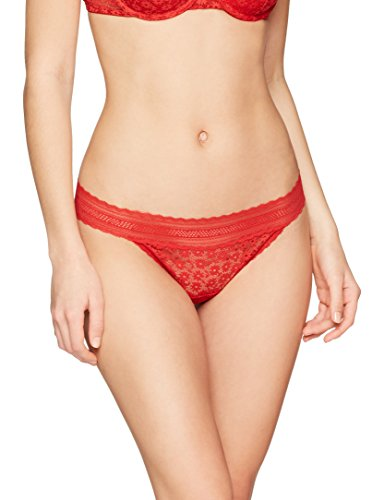 Iris & Lilly Damen Tanga mit Spitze, 2er Pack, Rot (Pompeian Red), Medium
