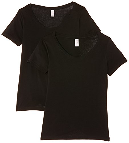 anvil Damen 2er Pack Lightweight Scoop Neck Tee / 2er 391, Gr. 34 (XS), Schwarz (black) (Womens Armee T-shirt Scoop Neck)