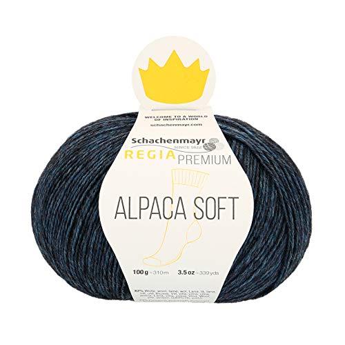 REGIA Premium Alpaca Soft 9801631-00055 nachtblau meliert Handstrickgarn, Sockengarn, 100g Knäuel
