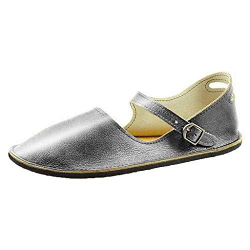 Schnalle-mokassin (Apragaz Frauen Sommer Flache Müßiggänger Bequeme Schnalle Sandalen Einfarbig Vintage Casual Mokassins (Color : Silber, Size : 38 EU))