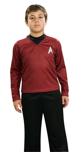 Red Kinder Trek Shirt Kostüm Star - Red - Star Trek Deluxe - Kinder-Kostüm - Small - 117cm
