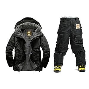 South Play Mens Wasserdicht Nord Military Design Ski-Snowboard-Jacke Schwarze Hosen Set