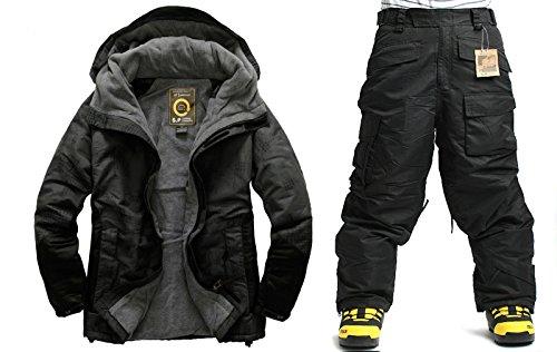 South Play Mens Wasserdicht Nord Military Design Ski-Snowboard-Jacke Schwarze Hosen SET (Medium) (Jacke Ski Set)