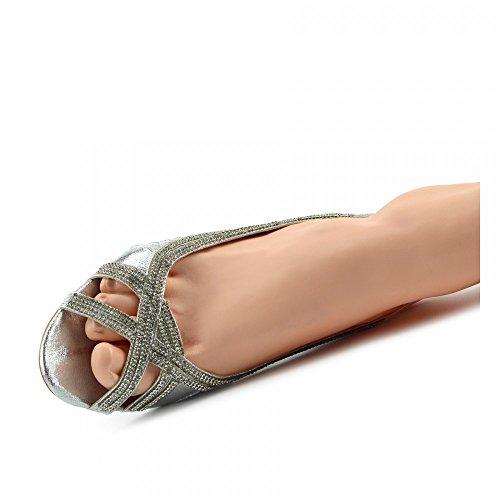 Kick Footwear - Donna Ladies Tacchi Partito Classico Look Scarpe Da Sposa ARGENTO-MZC012