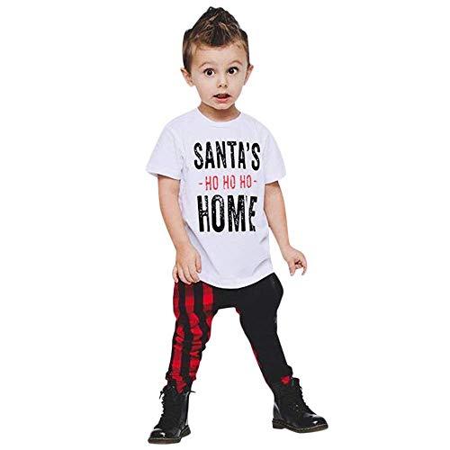 Fuxitoggo Trajes de Navidad para bebés, Carta Informal, Manga Corta Impresa, Tops...