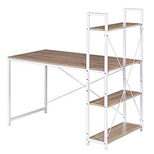 WOLTU TSB01whe Schreibtisch Computertisch Büromöbel PC Tisch Bürotisch Arbeitstisch aus Holz und Stahl, mit Ablage, ca. 120x64x120 cm