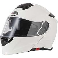 VCAN V271BLiNC Bluetooth Flip anteriore Casco Nuovo Moto MP3SAT NAV FM interfono casco modulare bianco con kit di cura e passamontagna bianco White m