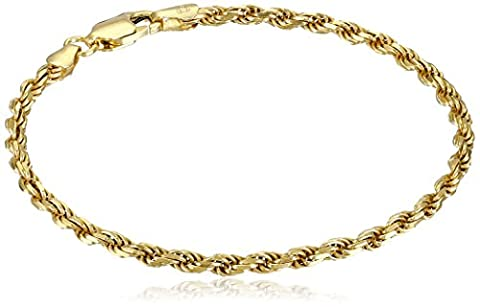 Gold Plated Sterling Silver 060-Gauge Diamond-Cut Rope Chain Link Bracelet, 7