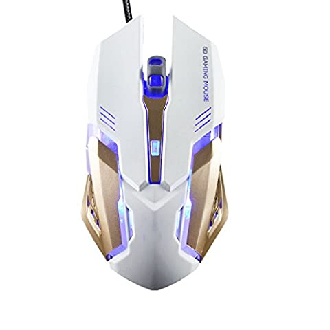 MDSNFH Wired Mouse Elite Electronic Sports Ergonomics Optical Sensor Color Backlit Accurate Laptop Mouse Multi-color Optional,White-15*9.6*5.2CM