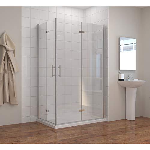 Dusche Duschkabine 120x90cm Eckeinstieg Falttür Duschabtrennung 120x90cm Duschtür Eckdusche Duschwand aus Sicherheitsglas