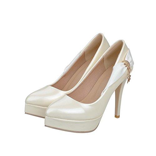 VogueZone009 Damen Stiletto Rein Ziehen Auf Spitz Zehe Pumps Schuhe Cremefarben