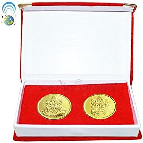 Vedic vaani Laxmi Ganesh Cobre Moneda Oro