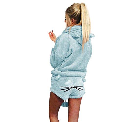 Lucky Mall Sleepwear Overall Frauen Winter Warm Set Zweiteilige Nette Katze Pyjamas Hoodie Nachtwäsche Einfarbig Hosenanzug Schlafanzug Jumpsuit mit Kapuze