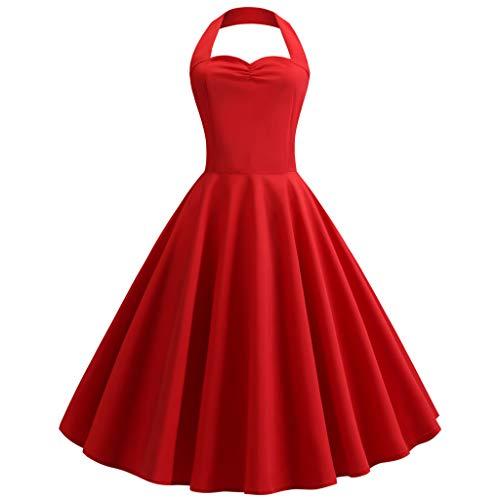 Kleider Damen Rockabilly Kleid Elegante Kleider Lange Kleider Damen Sommer Festliche Damenkleider Knielang - Vintage Druck Bodycon Ärmelloses Abendkleid Prom Swing Dress