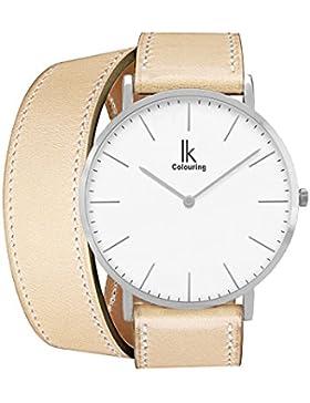 Alienwork IK Wrap2 Quarz Armbanduhr elegant Quarzuhr Uhr modisch Doppel Wrap weiss beige Leder 98469CL-05