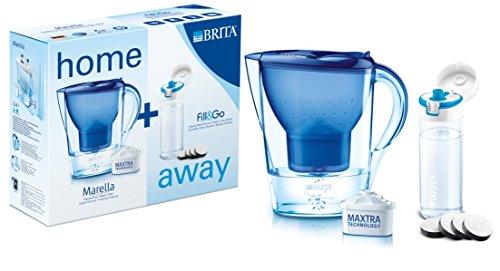 BRITA Home&Away - Wasserfilter Marella Cool, blau  + Fill & Go Trinkflasche mit Wasserfilter, 0.6 Liter, blau