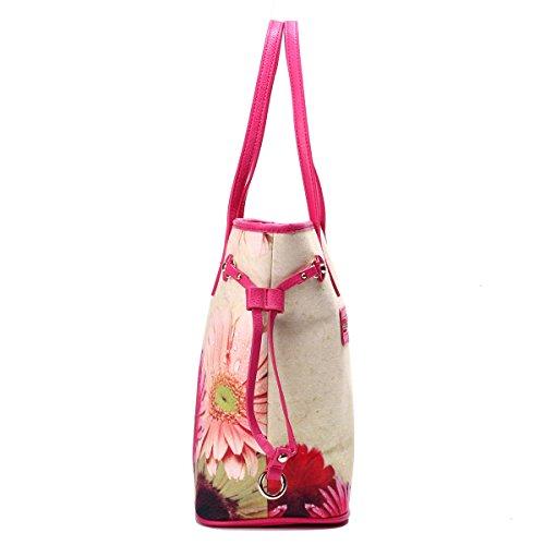 Eshow Borse a tracolla da donna di tela a mano Multifunzione per viaggio sacchetto borsa shopper bag shopping trekking rosa rossa