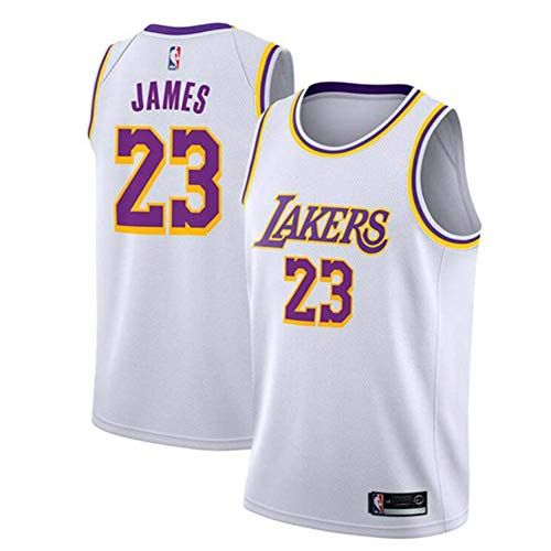 Herren Trikots, NBA Lakers 23 Lebron James, Basketball Trikot, S-XXL, Weiß,L