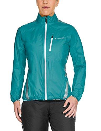 VAUDE Women's Luminum Performance Jacket - Lightweight Waterproof Bike Jacket with Pack Bag - Ideal Rain Jacket for Road Biking and Cycling - Reef (Road Bike Bag)