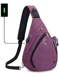 Sling Bag Chest Shoulder Backpack SINOKAL Casual Crossbody Shoulder Triangle Packs Daypacks for Men Women Canvas Digital Camera Bags with Charging Port for Sport Outdoor Gym Travel Hiking
