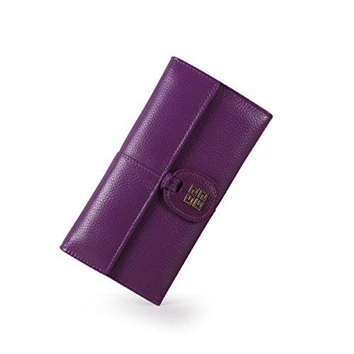 WU Zhi Lady In Pelle In Pelle Goffrata Ad Alta Capacità Portafogli Portamonete Purple