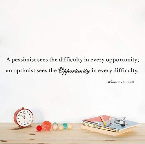 Ein Optimist sieht die Chance.Berühmte Spruchvinylwand-inspirierende Zitat Aufkleber Winstons Churchill