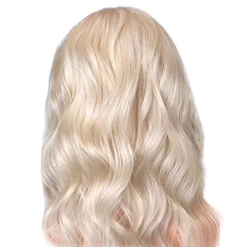 Echthaar Lace Wigs für Frauen,Rifuli® Gold Kurze Bob gewelltes Haar Perücken Platin Gold synthetische Welle Lace Front Perücke Cosplay Qualitativ hochwertige Cosplay Perücke -