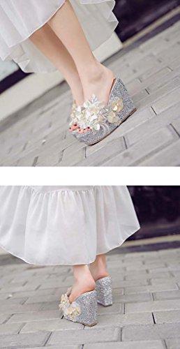 SHEO sandales à talons hauts Pente des dents avec des paillettes Sandales à talons hauts épais ( Couleur : Silver , taille : 36 ) Silver