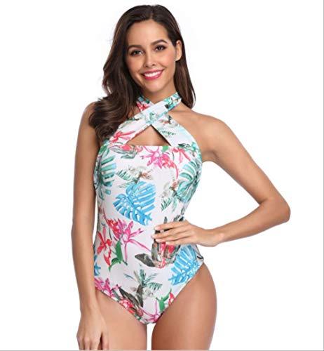 SMM98723 Damen Bademode, EIN Stück Neckholder Pflanze Druck DIY, Beachwear Badeanzug Kostüm Monokini m 1