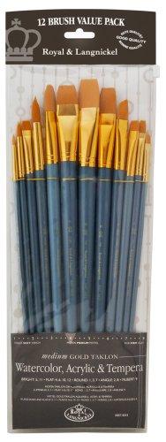 5 unidades, punta biselada Juego de pinceles de pelo medio Royal /& Langnickel Aqualon Wisp