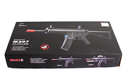 Double Eagle M307F Airsoft Gewehr Spring/Federdruck in Schwarz, unter 0.5 Joules, Hop up einstellbar, GRATIS 2000 BULLDOG BBS 0.20G (Double Eagle Softair)